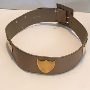 PALOMA PICASSO AUTHENTIC TAUPE WIDE LEATHER BELT